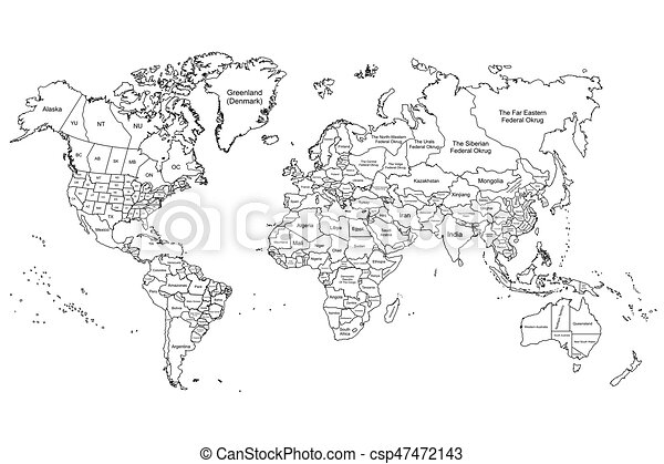 Cartina Del Mondo On Line.The World Map White Illustration Map Of The World In Black And White Color Canstock