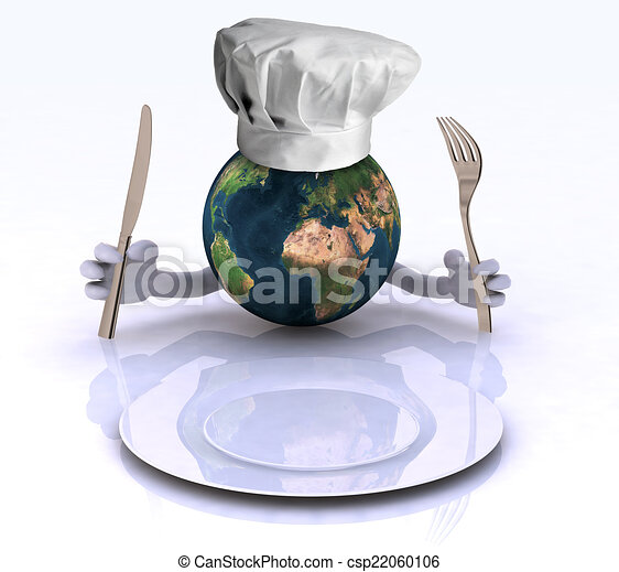 the world with hands and utensils - csp22060106