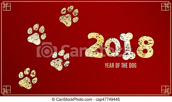 the year 2018 is a earth dog golden traces in grunge style on a red