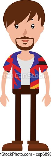 The young man with a colorful shirt illustration vector on white background - csp68969736