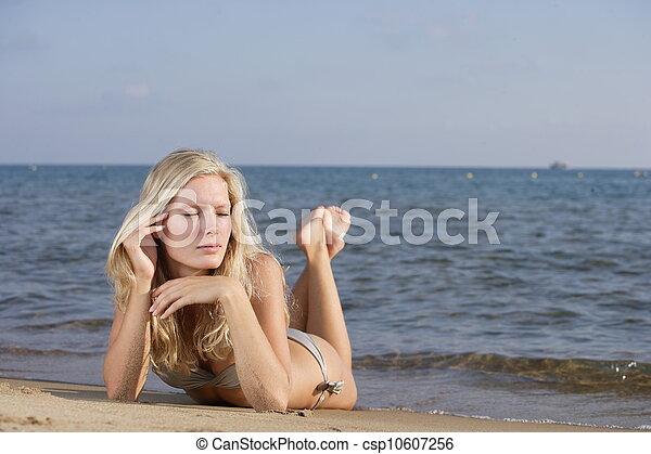 The young woman on a beach. - csp10607256