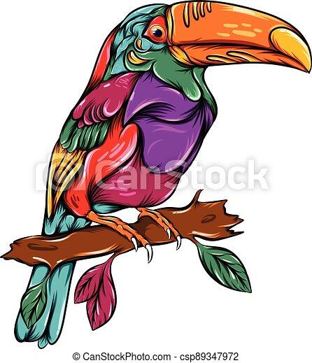 The zentangle tropical toucan perch on the branch - csp89347972