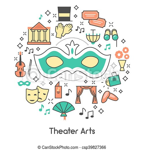 Theater Arts Line Art Outline Vector Icons Set with Mask and Binoculars - csp39827366