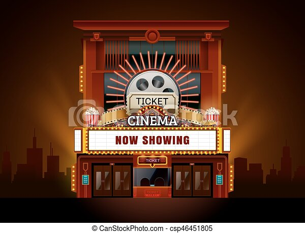 Theater cinema building vector easy to change color and ... Cinema Building Cartoon