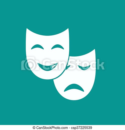 Theater mask icon or sign, vector illustration - csp37225539