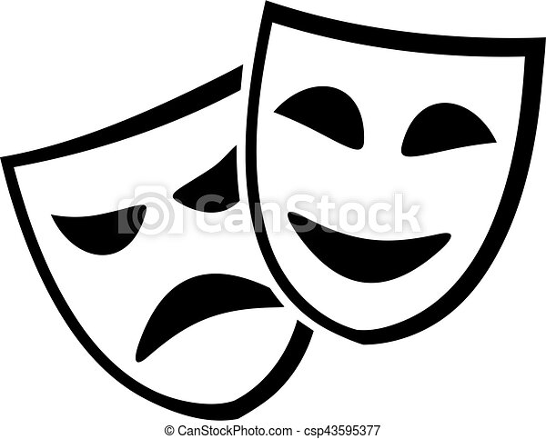theater masks icon vectors illustration search clipart drawings rh canstockphoto com theater masks clipart acting masks clip art
