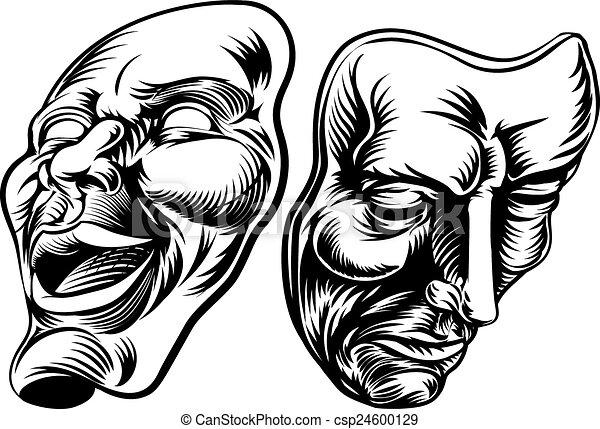 theater masks an original illustration of theatre masks Drama Symbol Drama Clip Art Black and White