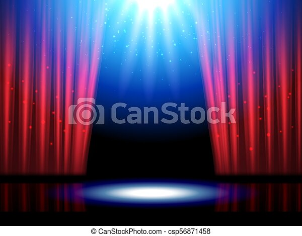 Theater Scene With Lights Or Theatre Stage