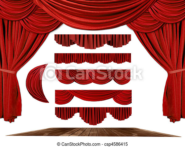 Theater STage Drape Elements to Create Your Own Background - csp4586415