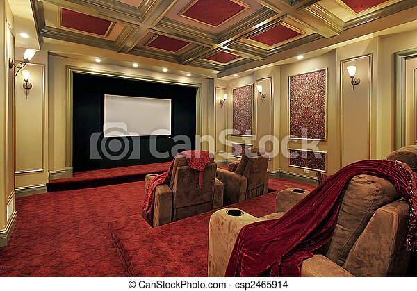 Theater with plush red carpeting - csp2465914