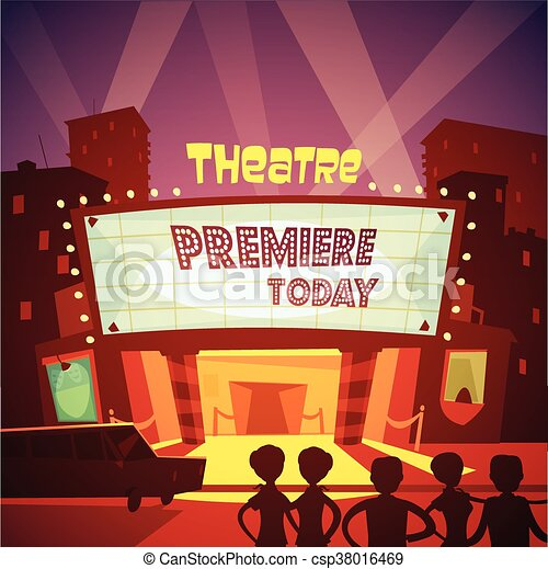Theatre building illustration. Color cartoon illustration ...  Cinema Building Cartoon