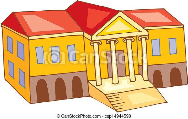 Theatre building.vector. Cinema Building Cartoon