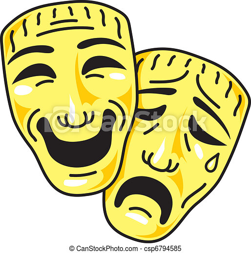 theatre comedy and tragedy masks clipart vector search rh canstockphoto com Comedy and Tragedy Masks Comedy Tragedy Vector Line
