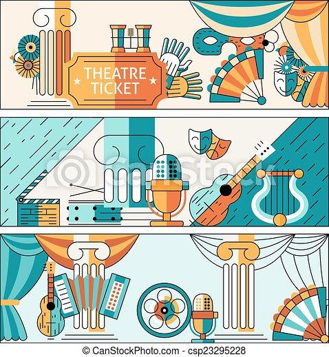 Theatre flat line banner set - csp23295228