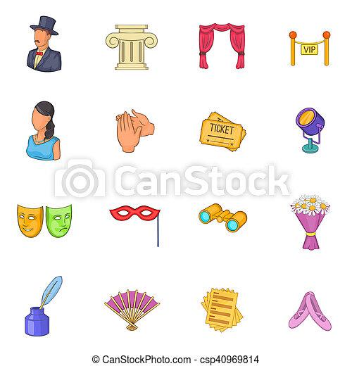 Theatre icons set, cartoon style - csp40969814