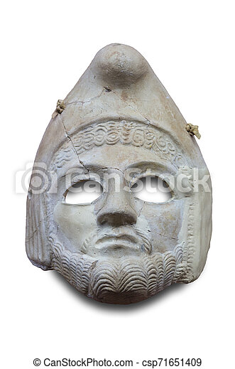 Theatre mask in stucco. Isolated - csp71651409