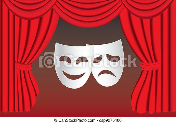 Theatre masks and curtain - csp9276406