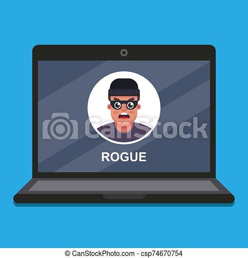theft., scammer., ordinateur portable, données - csp74670754