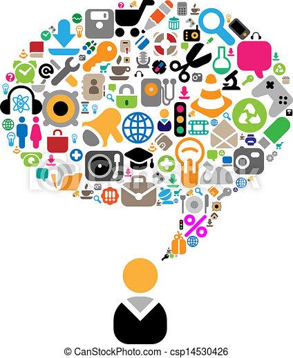thema's, gesprek, set, iconen - csp14530426
