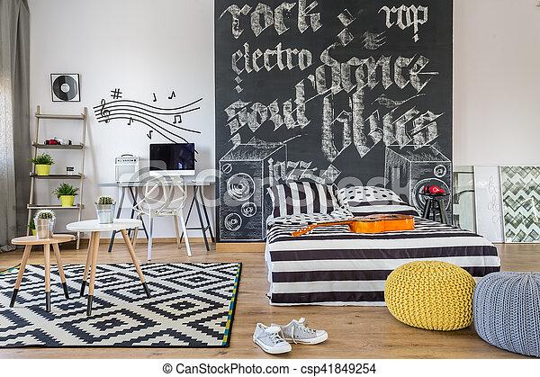 Themed, muziek, slaapkamer. Grit, minnaar, black , slaapkamer ...