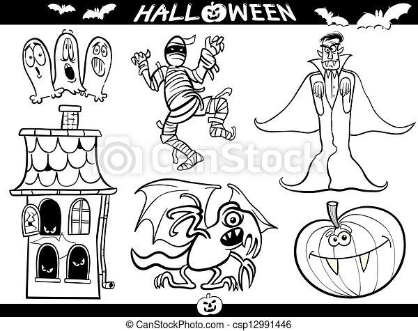 Themen, färbung, halloween, buch, karikatur. Zählen,... EPS Vektor ...