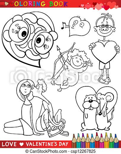 Themen, färbung, karikatur, valentine. Färbung, satz, liebe ...