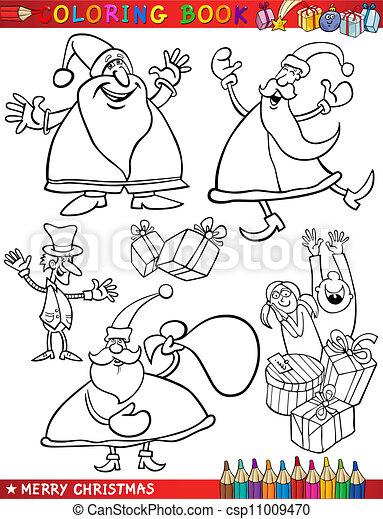 Themen, färbung, karikatur, weihnachten. Santa, färbung,... Vektoren ...