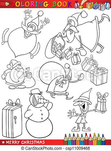Themen, färbung, karikatur, weihnachten. Santa, färbung,... Clipart ...