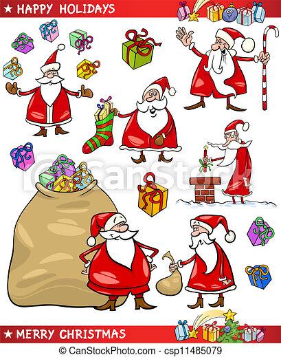 Themen Zu Weihnachten.Themen Satz Weihnachten Santa Karikatur