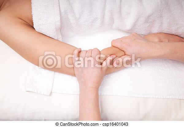 Therapeut, muskeln, unterarm, frau, tief, gewebe, massage ...