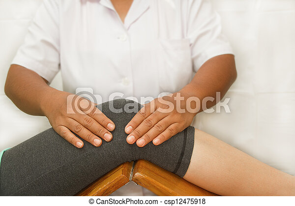 Therapist checking the knee joint - csp12475918