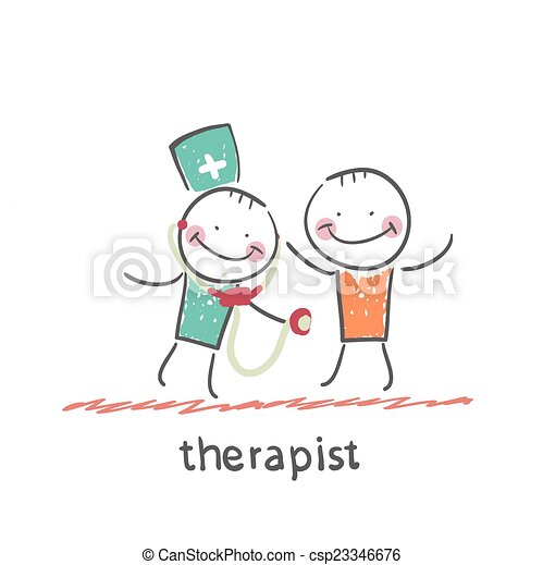 therapist listens to a stethoscope patient - csp23346676