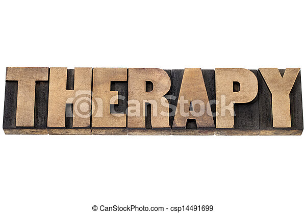 therapy word in wood type - csp14491699