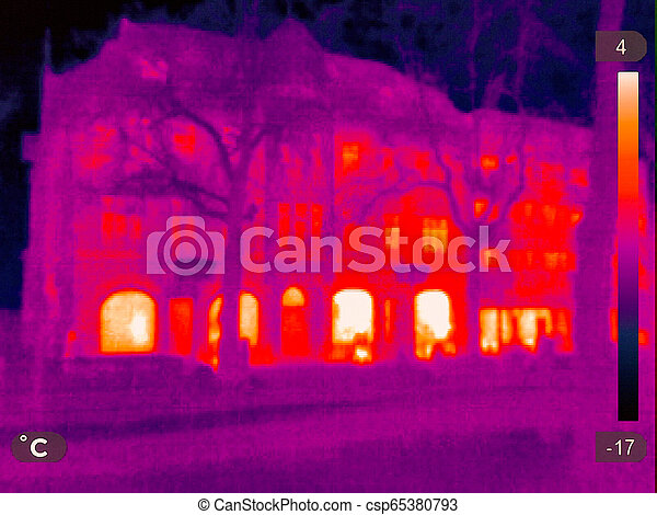 Thermal Image of a small town - csp65380793