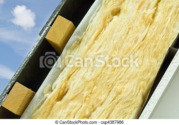 Thermal insulation of a house roof - csp4387986