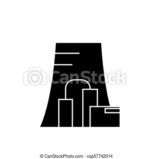 thermal power plant black icon concept thermal power plant vector Thermal Power Production thermal power plant black icon concept thermal power plant vector sign, symbol, illustration