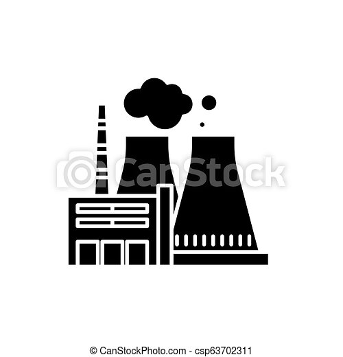 thermal power plant black icon, vector sign on isolated background Thermal Power Production thermal power plant black icon, vector sign on isolated background thermal power plant concept