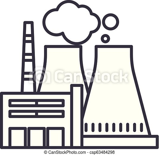 thermal power plant line icon concept thermal power plant vector Thermal Power Production thermal power plant line icon concept thermal power plant vector linear illustration, symbol,
