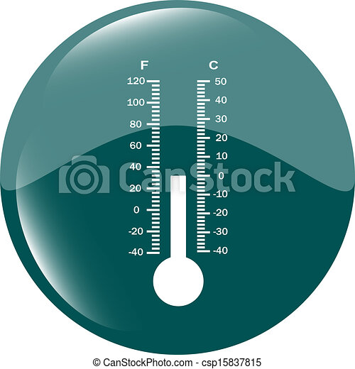 Thermometer icon blue button - csp15837815