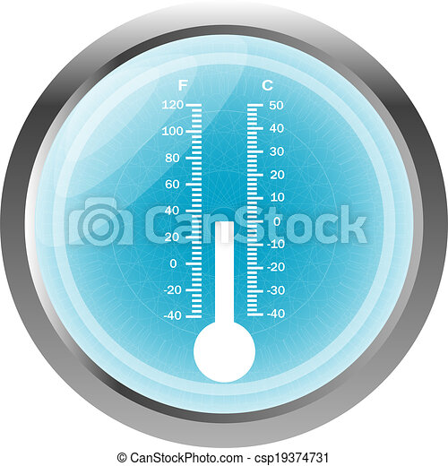 Thermometer icon button isolated on white - csp19374731