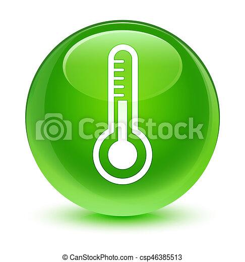 Thermometer icon glassy green round button - csp46385513