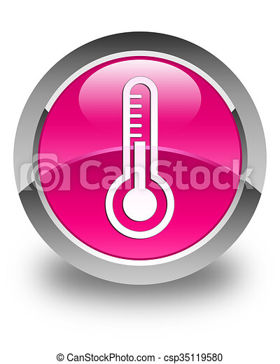 Thermometer icon glossy pink round button - csp35119580