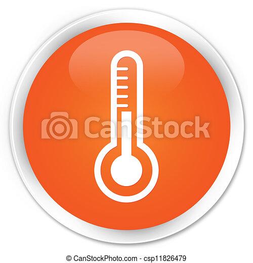 Thermometer icon orange button - csp11826479