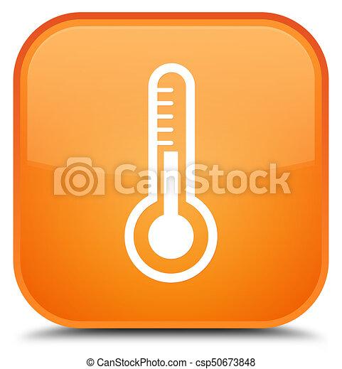 Thermometer icon special orange square button - csp50673848