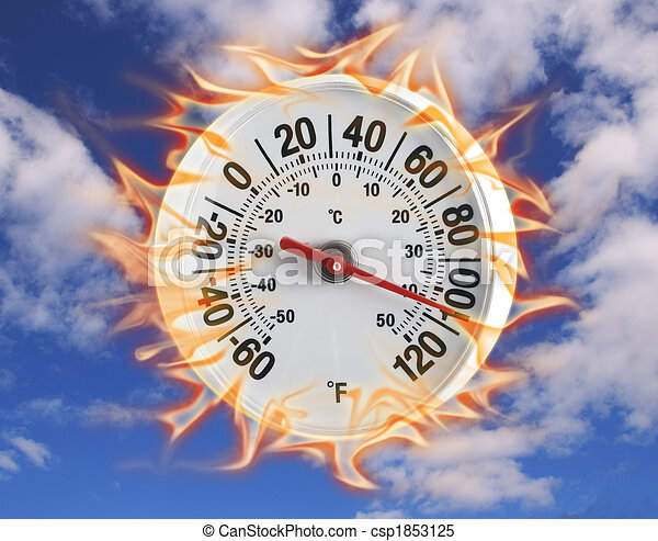 Thermometer on fire one - csp1853125