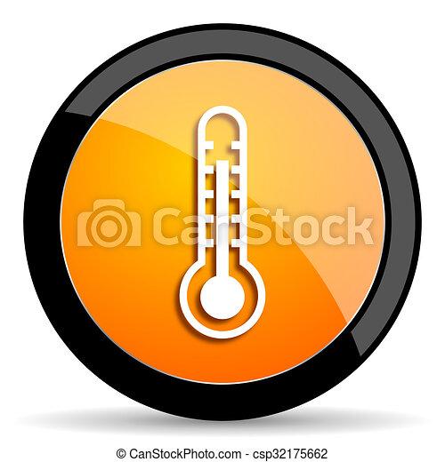 thermometer orange icon - csp32175662