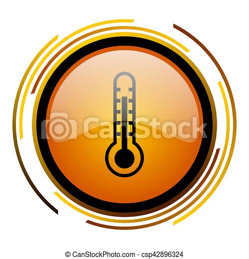 thermometer round design orange glossy web icon - csp42896324