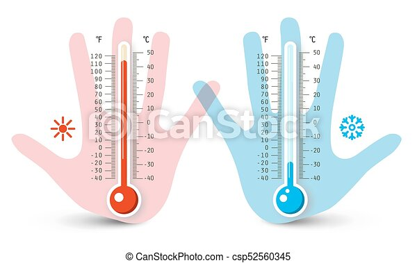 Thermometers in Human Hand. Vector Temperature Measurement Icons Isolated on White Background. - csp52560345