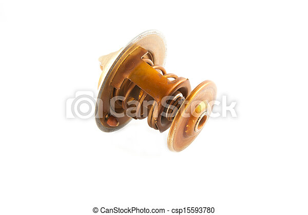 Thermostat of car engine isolated on white background - csp15593780