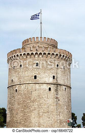 Thessaloniki famous landmark white tower - csp16649722